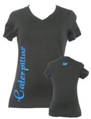 CAT Black Ladies V-Neck Aqua tee