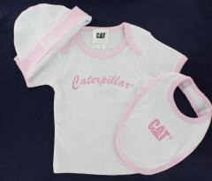 CAT Baby Set - Girls T-Shirt, Bib and hat