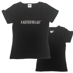 CAT Black Ladies Bling Tee