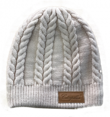 Ladies Beanie. Beige with Leather Patch
