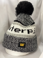 Black and White Pompom beanie