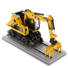 CAT 1:50 M323F Railroad Wheeled Excavator Safety Yellow - High Line Series