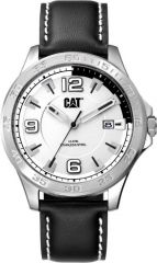 CAT Boston 3HD Watch Silver/White with Leather Strap