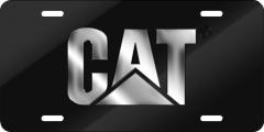 CHROME CAT BLACK ACRYLIC LICENSE PLATE
