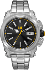 CAT Adventurer Watch Silver Black/Yellow with Stainless Steel Band
