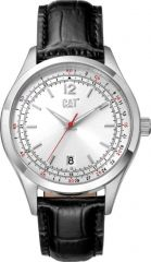 CAT 1904 3HD Watch Silver with Leather Strap
