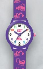 Cat Kids White/purple Silicone Watch