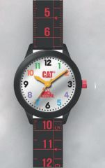Cat Kids silver and blk/red Silicone Watch