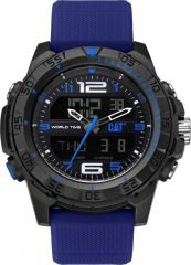 CAT Basecamp Digital Watch Black/Blue with Silicone Strap