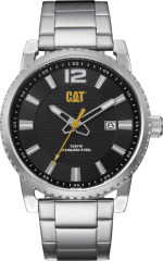 CAT NP Date Watch Stainless Black/Yellow with Stainless Steel Strap