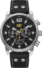 CAT NP Date Watch Gun Grey with Leather Strap