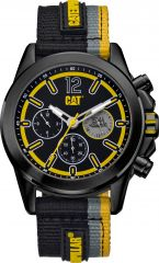CAT Twist up Multi Watch Black Black/Yellow with Nylon Strap