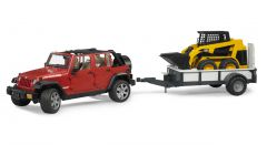 1:16 Jeep Wrangler Rubicon with Carrying Trailer & CAT Skid Steer Loader