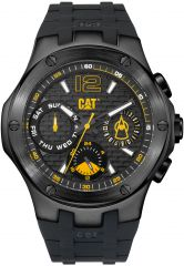CAT Navigo Multi Watch Black Stainless with black/yellow Face and black Silicone Band