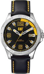 CAT Boston 3HD Watch Black/Yellow with Leather Strap