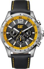 CAT Boston Chrono Watch Black/Yellow with Leather Strap