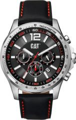 CAT Boston Chrono Watch Black/Red with Leather Strap