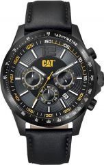 CAT Boston Chrono Watch Black with Leather Strap