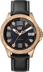 CAT Boston 3HD Watch Black/Rose Gold with Leather Strap