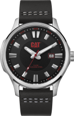 CAT AG 3HD Watch Stainless Steel Black/Red with Leather band