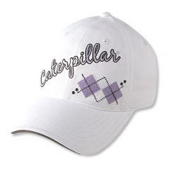 Ladies White Argyle Cap