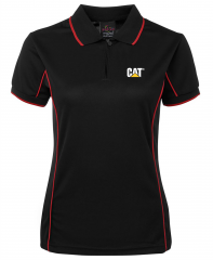CAT Ladies Piping Polo Black/Red -Size 10