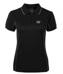 CAT Ladies Piping Polo Black/Grey