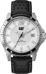 CAT Carbon Blade 3HD Watch Silver with Leather Strap