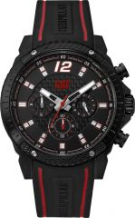 CAT Carbon Blade Multi Watch Black/Red with Leather Strap