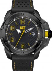 CAT Construct 3HD Watch Black/Yellow with Leather Strap