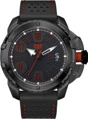 CAT Construct 3HD Watch Black/Red with Leather Strap