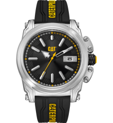 CAT Adventurer Watch Silver - Black/Yellow with Silicon Band