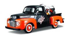 1:24 Ford 1948 F-1 Black/Orange Pickup and 1958 Harley-Davidson FLH Duo Glide
