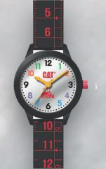 Cat Kids silver with black Silicone Watch