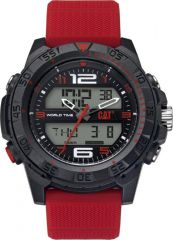 CAT Basecamp Digital Watch Black/Red with Silicone Strap