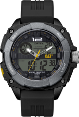 CAT Ana-Digit Watch Black/Yellow with Silicone Strap