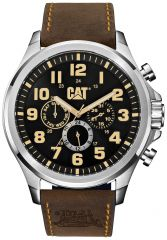 CAT Operator Multi Watch Black/Beige with Leather Strap