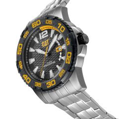 CAT Drive Date Watch Black/Yellow with Stainless Steel Strap