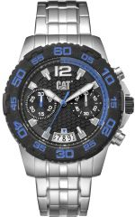 CAT Drive Chrono Watch Black/Blue with Stainless Steel Strap